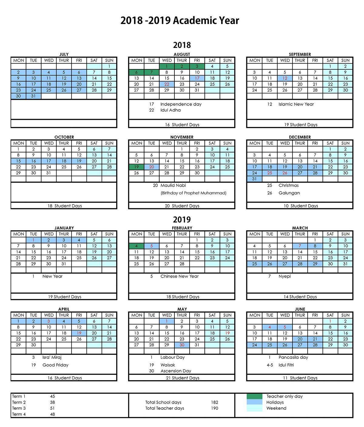 Finns Recreation Club School Calendar | JSA Bali