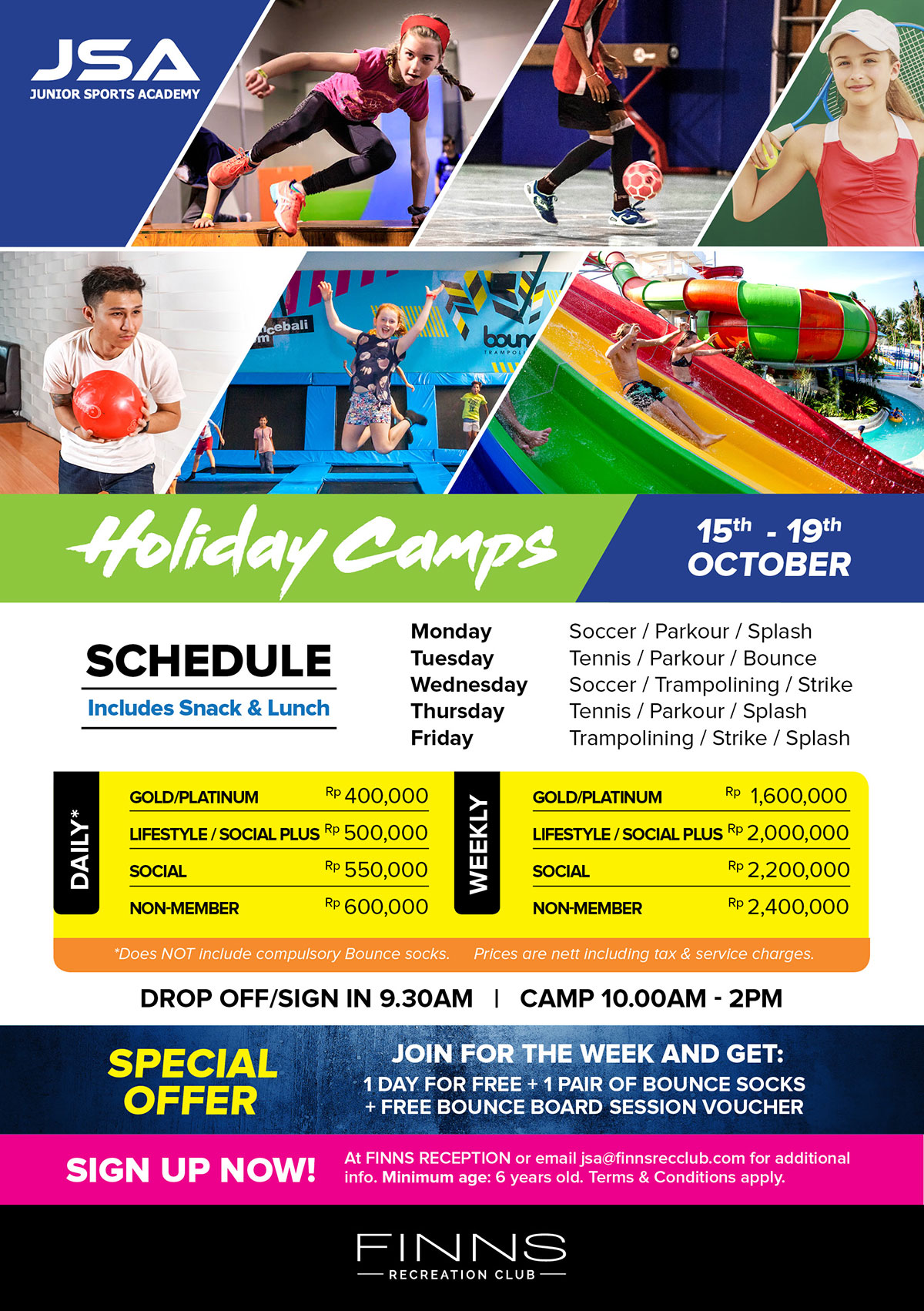Holiday Camps 15th – 19th October 2018